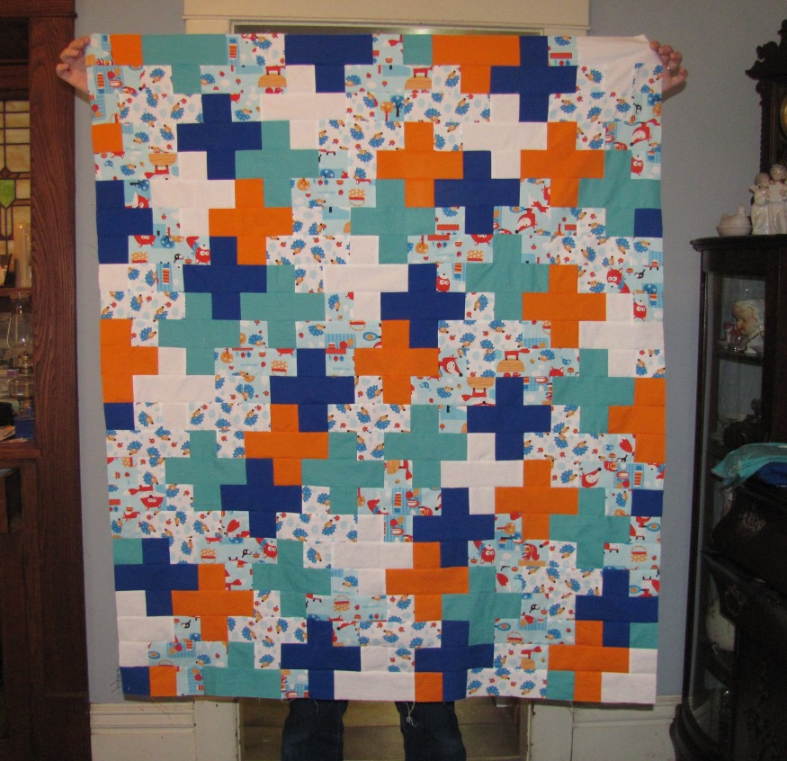 Blue and Orange Plus Sign Quilt Top