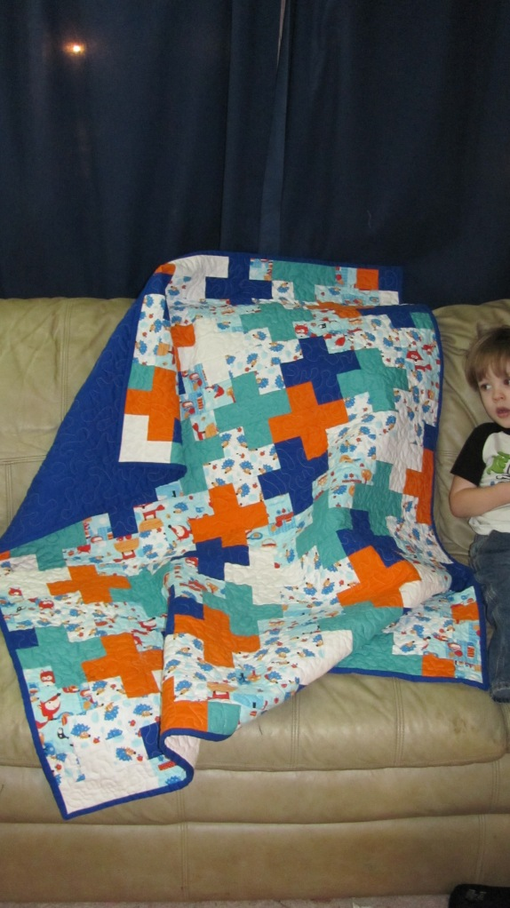 Blue and Orange Plus Quilt